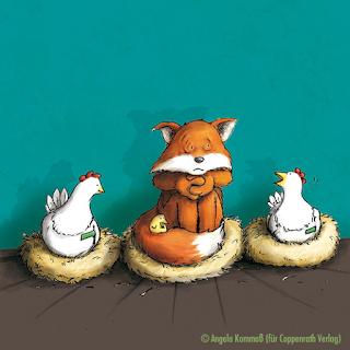 Hühner, Fuchs, Cartoon, Coppenrath, Angela Kommoß