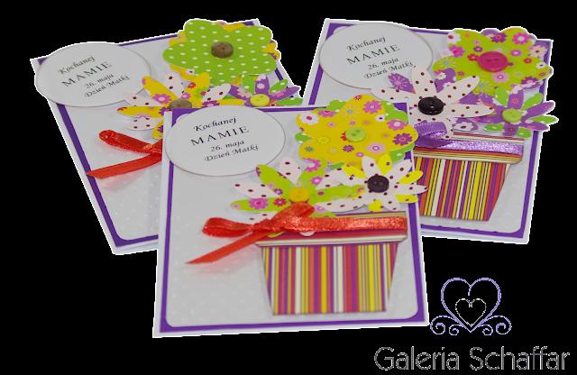 kolorowa nietypowa kartka z kwiatkami w doniczce galeria schaffar papiery od drukarni KORO
