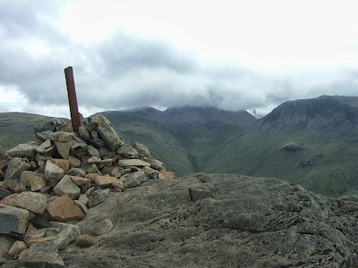 Haystacks summit cairn with Great Gable