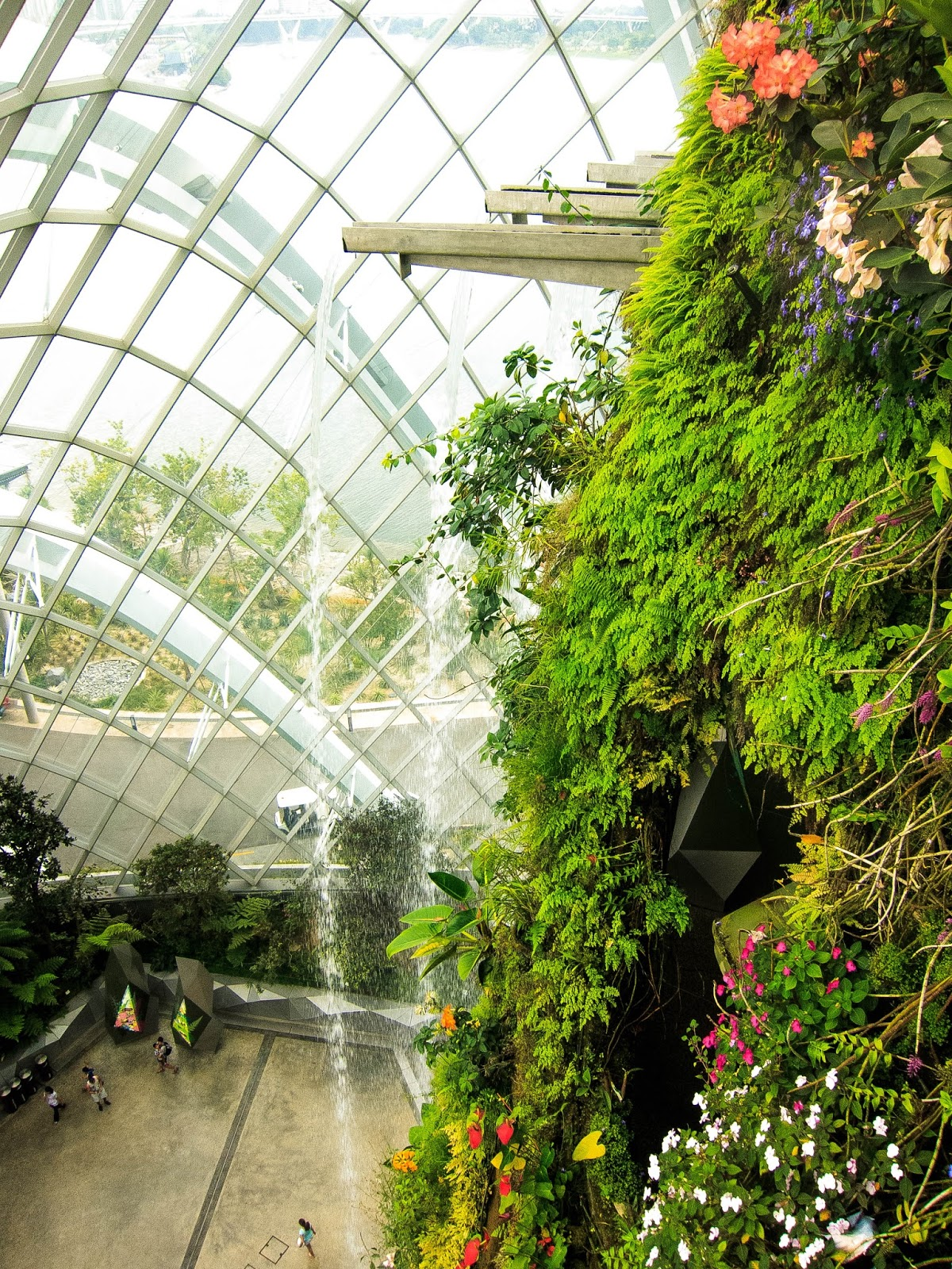 top of the falls, Cloud Forest, Gardens by the Bay in Singapore | Svelte Salivations - Travel