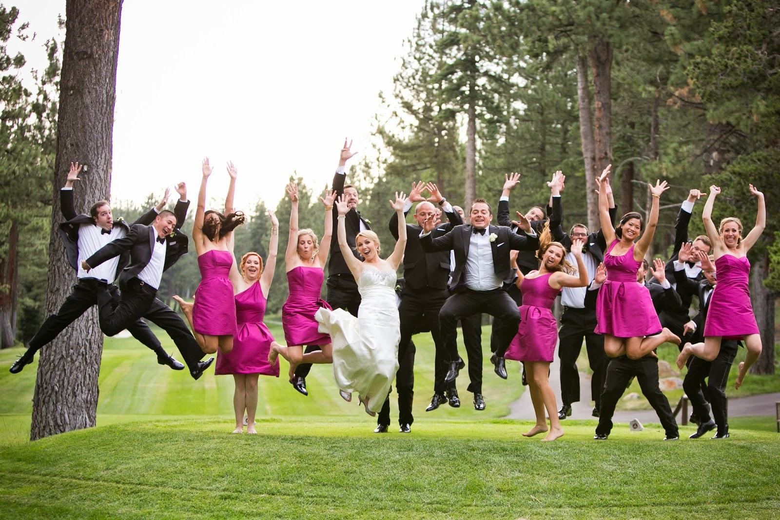 Short fuchsia bridesmaids dresses // Kacie Jean Photography // Take the Cake Event Planning