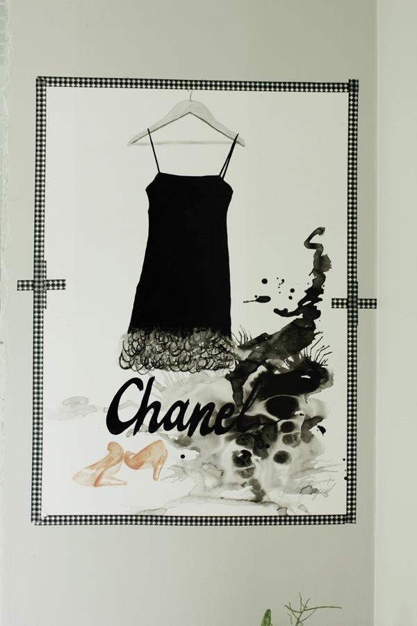 artprint chanel, tavla chanel, klänning tavla, svart vit och röd tavla, washitejp print, inspiration tavlor