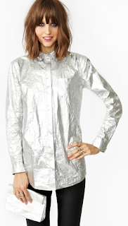 Luster Blouse Nasty Gal Silver Foil button Down Shirt
