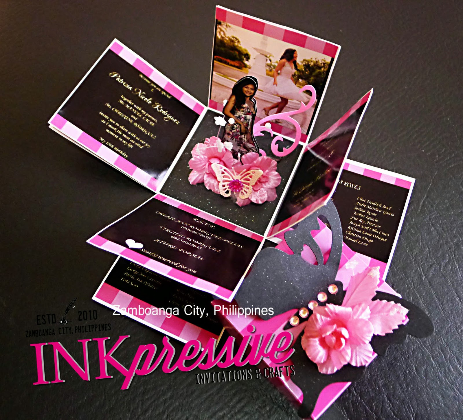pink striped and black exploding box invitation debut victoria