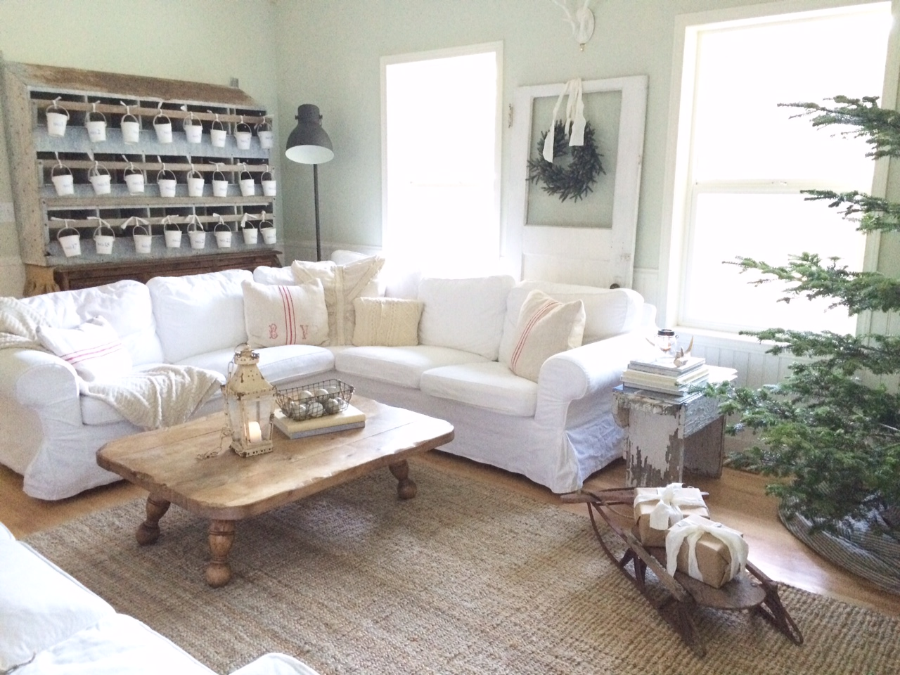 a farmhouse christmas family room
