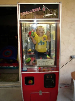 kid trapped on the machine box