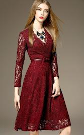 New 2016 Maroon V-Wrap Long Three Quarter Sleeve Flare Lace Dress