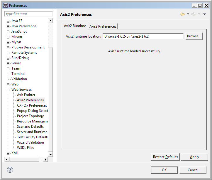 Set Axis Runtime in Eclipse