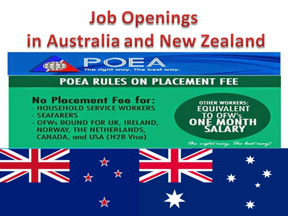 POEA Approved Jobs For Australia and New Zealand