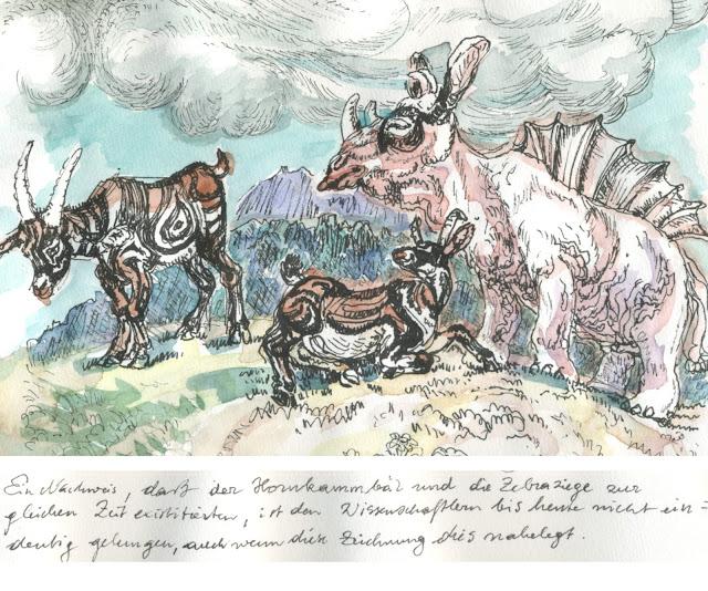 fabelwesen, fabeltier, paläontologie, erdgeschichte, zeichnung, illustration, fantasietier, chimäre, bär, ziege, bock, zebra