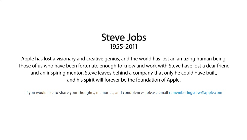 homenagem site apple morte steve jobs