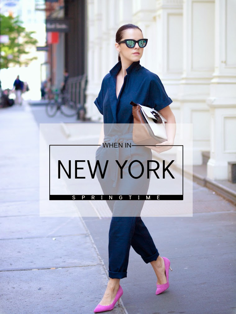 bittersweet colours,New York, JUMPSUIT, ASOS,Topshop shoes, pink shoes, Joanna Maxham bags,mirrored sunglasses, navy jumpsuit,Spring, street style,Joe fresh,eye cat sunglasses,