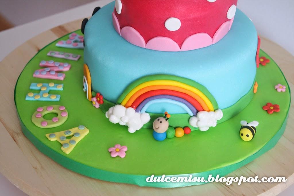minie Dulcemisu reposteria creativa, tarta, fondant, Minnie, arco iris,