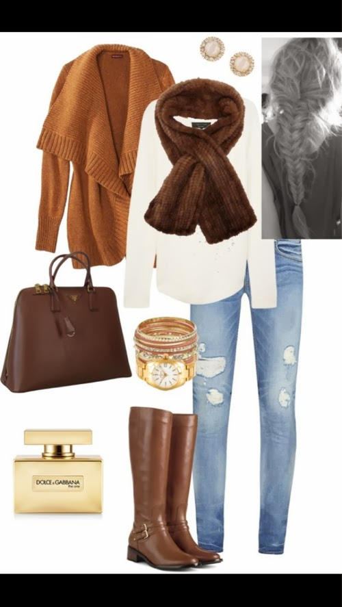 Amazing brown cardigan, scarf, white blouse, jeans, brown handbag and long boots for fall