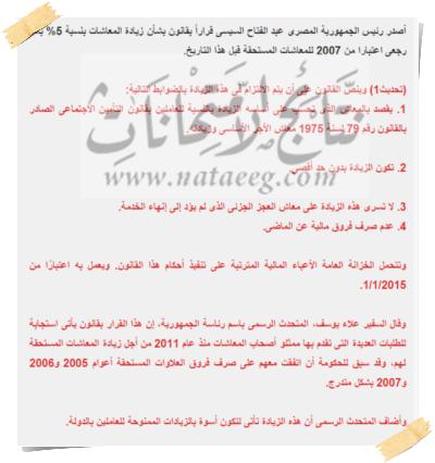 تفاصيل اخبار زيادة المعاشات 15% بدلا من 10% بأثر رجعي منشور بتاريخ 9/12/2014