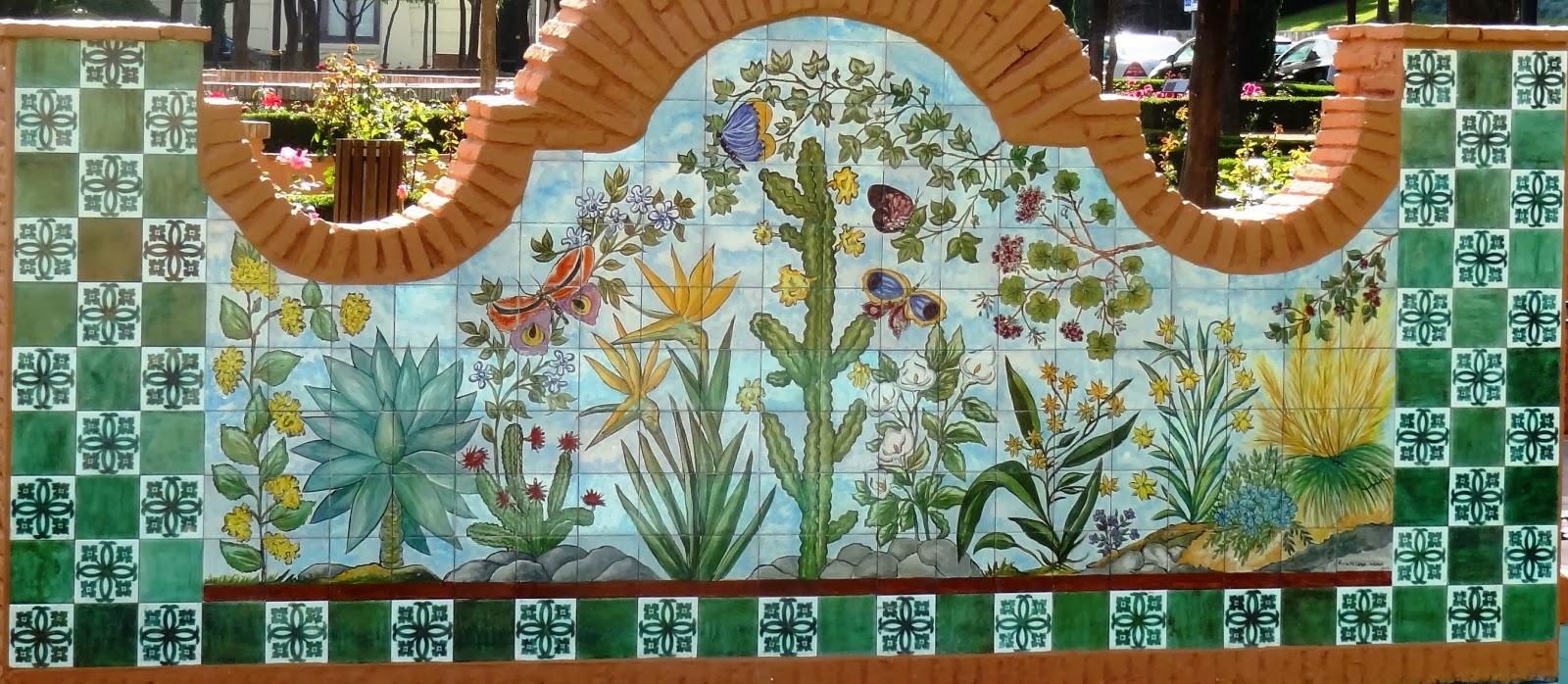Mosaicos de m laga mosaico 459 mural de las flores for Mural jardin