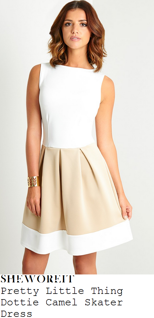 lucy-mecklenburgh-white-camel-sleeveless-skater-dress