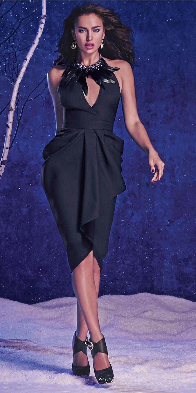 BEBE Cutout Black Draped Halter Dress
