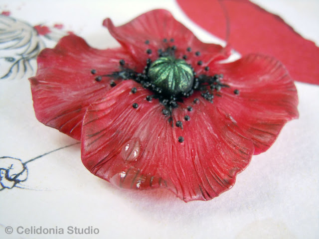 poppy necklace sculpted in polymer clay