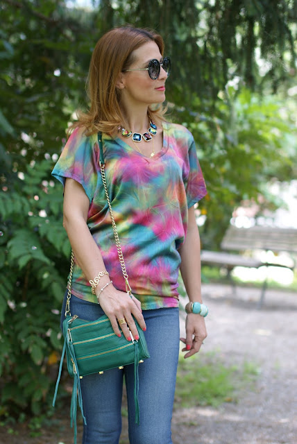 Hippy look, anni 70, tie dye blouse, Rebecca Minkoff bag, Fashion and Cookies