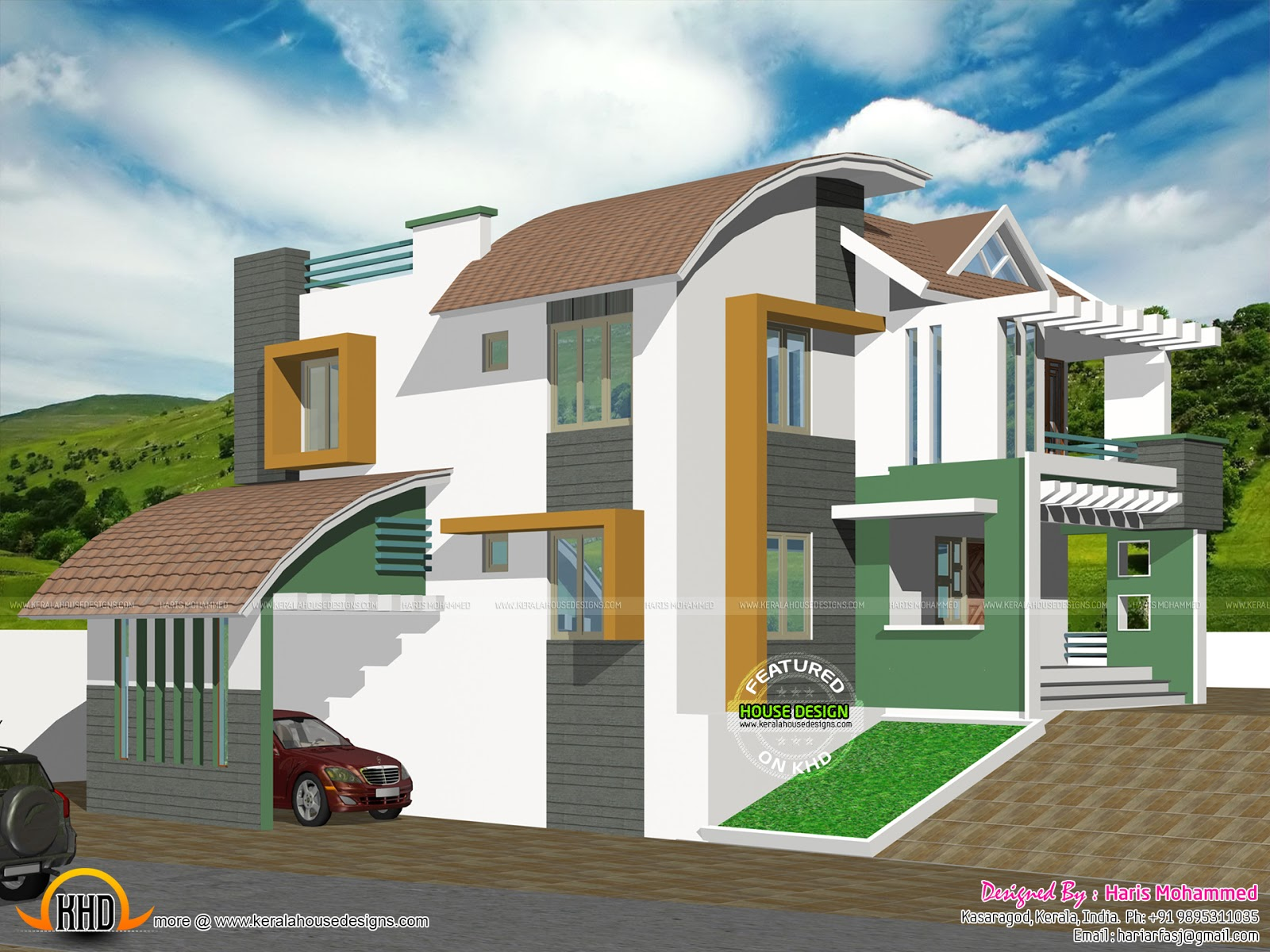 Contemporary hillside house kerala home design and floor for Slope home design