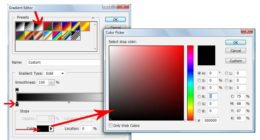 color selection for Gradient fill