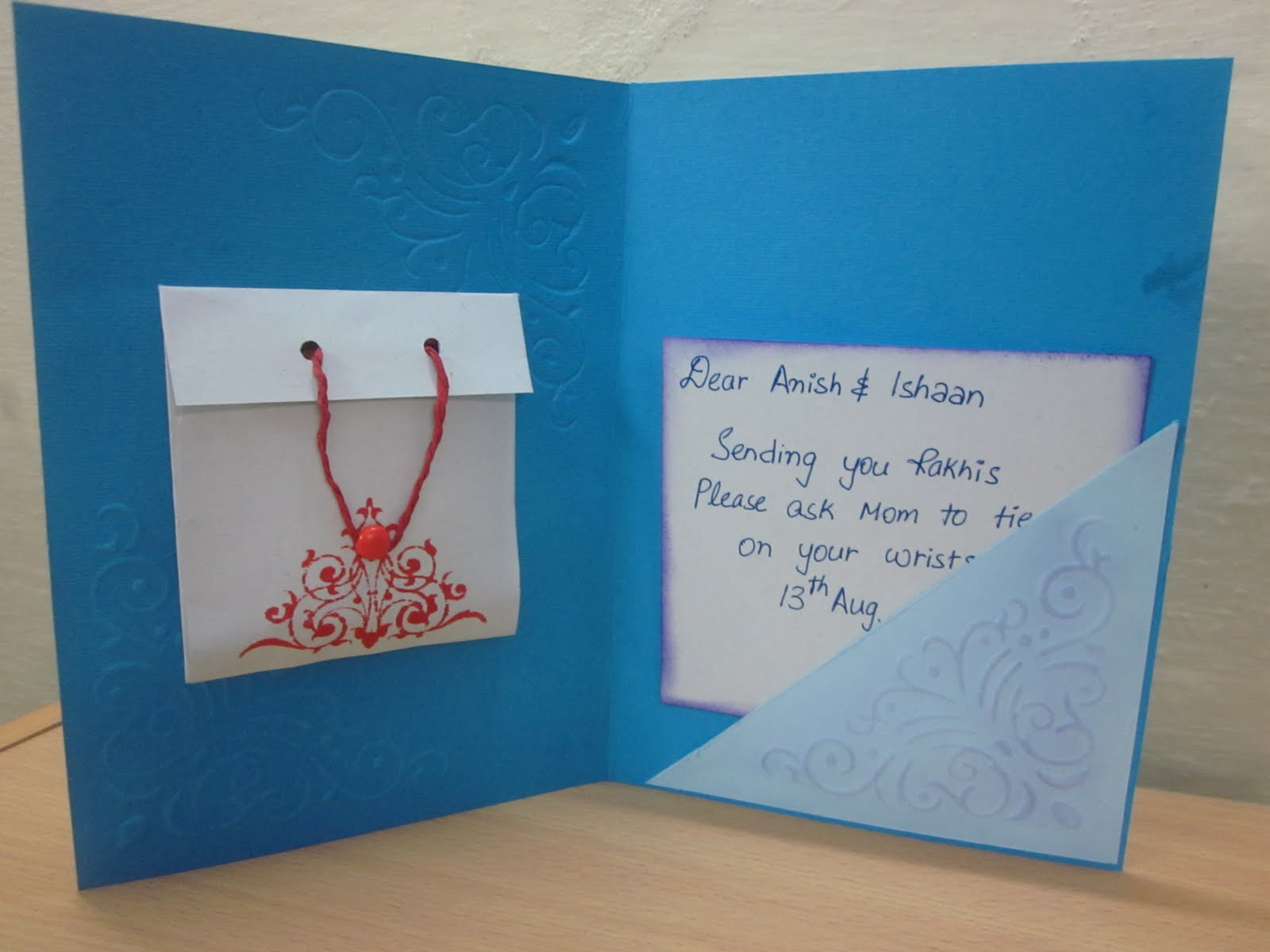 Nice Card Making Ideas For Raksha Bandhan Part - 6: Rakshabandhan Cards. Hi Peeps! I Have Two Cards To Share Today.Realised All  Of A Sudden That It Was High Time I Sent Rakhis.So Made These Today And  Will ...