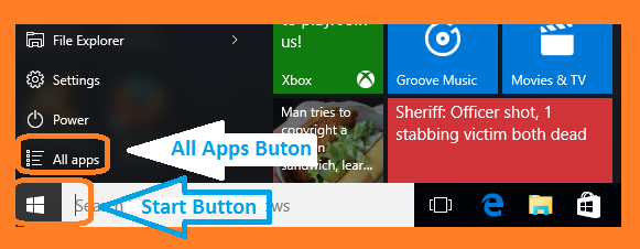 Windows 10 Start Button and All Apps menu