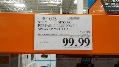 Sony SRSX3/C Portable Bluetooth Speaker with carrying case at Costco