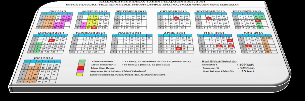kalender pendidikan tahun pelajaran 2013 2014 excel