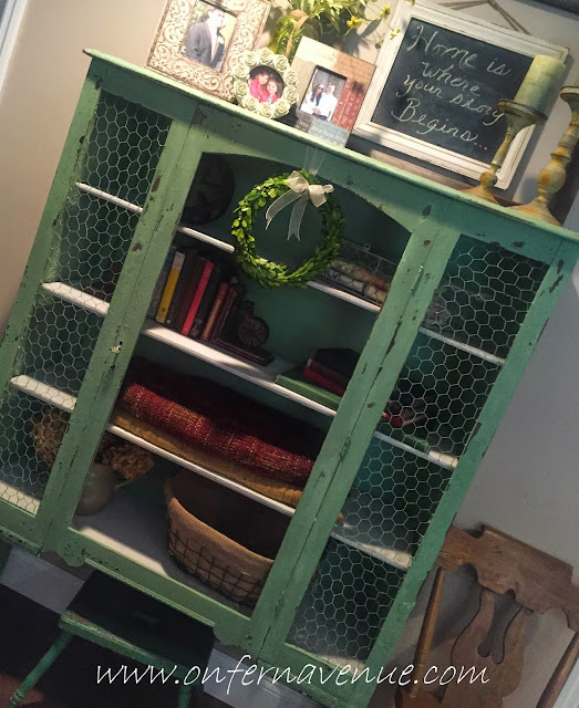Old Hutch turned Shabby Chic Storage