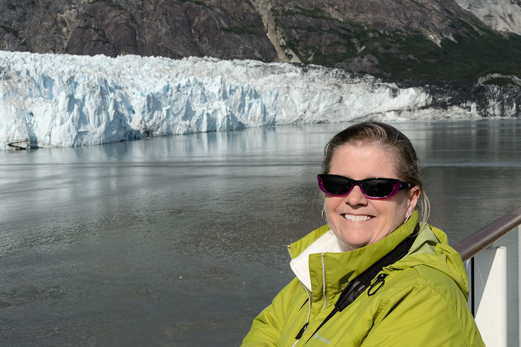 Peg in front of Margerie Glacier