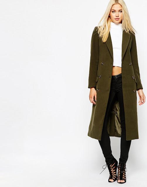 khaki maxi coat, green maxi wool coat, missguided maxi coat,