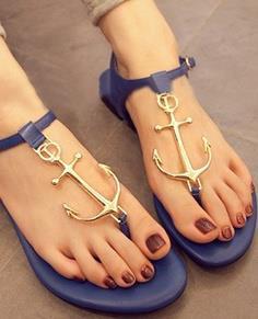 Golden anchor style ladies sandals