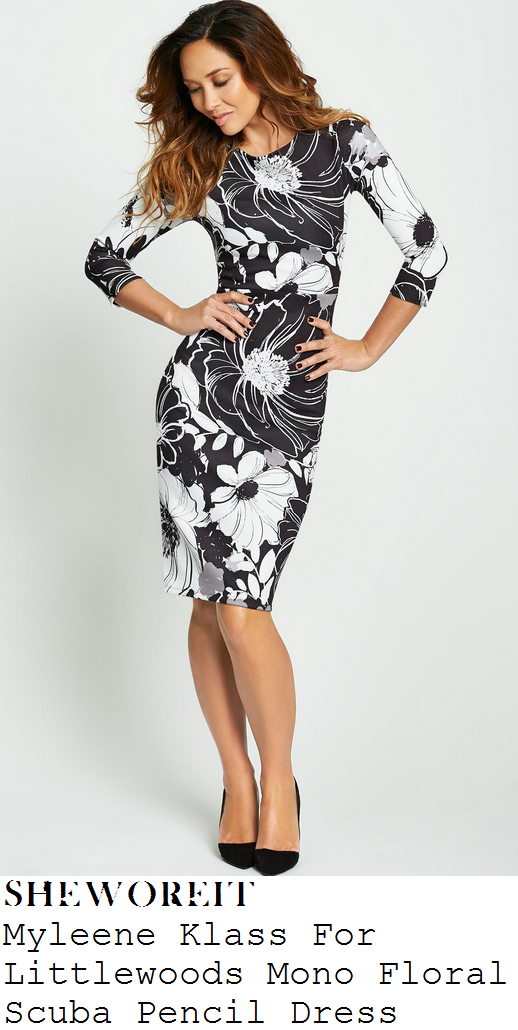myleene-klass-black-white-oversized-floral-print-bodycon-pencil-dress