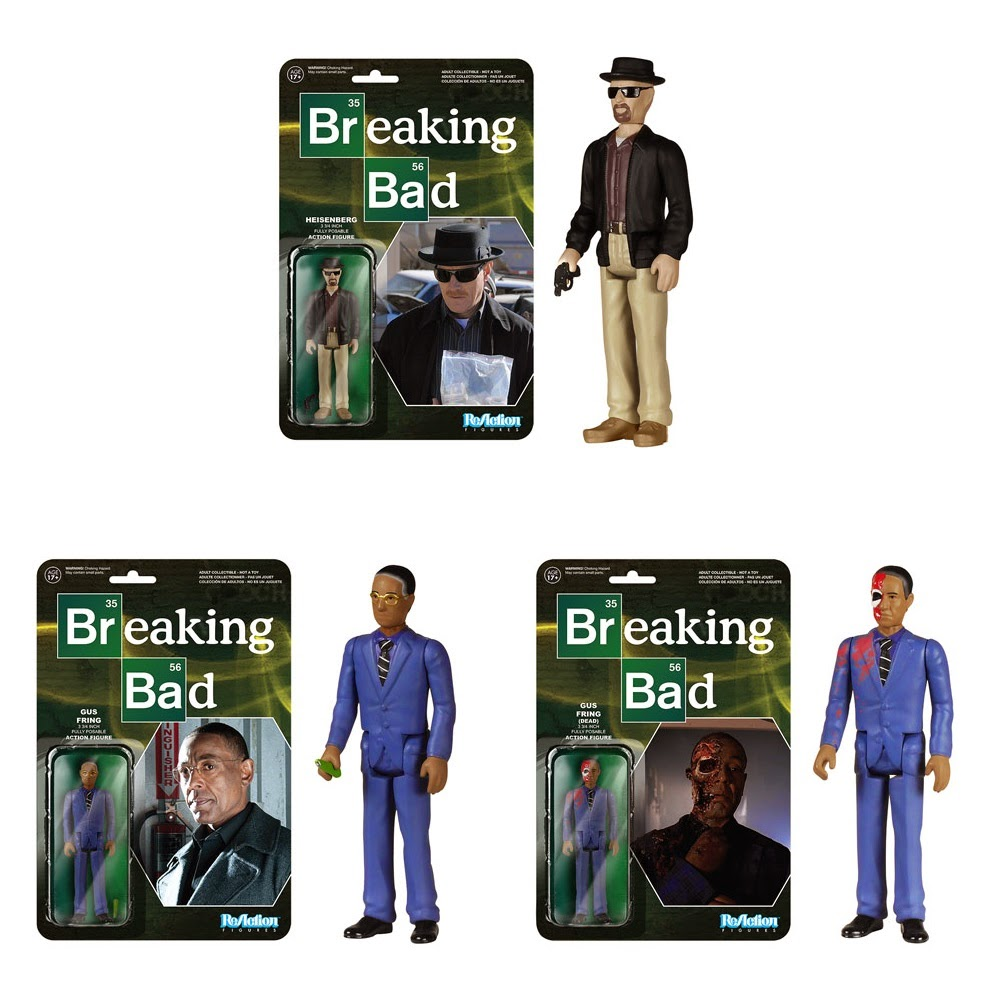 "Breaking Bad ReAction Wave 1 Retro Action Figures by Funko & Super7 - Heisenberg, Gus Fring & ""Dead"" Gus Fring"
