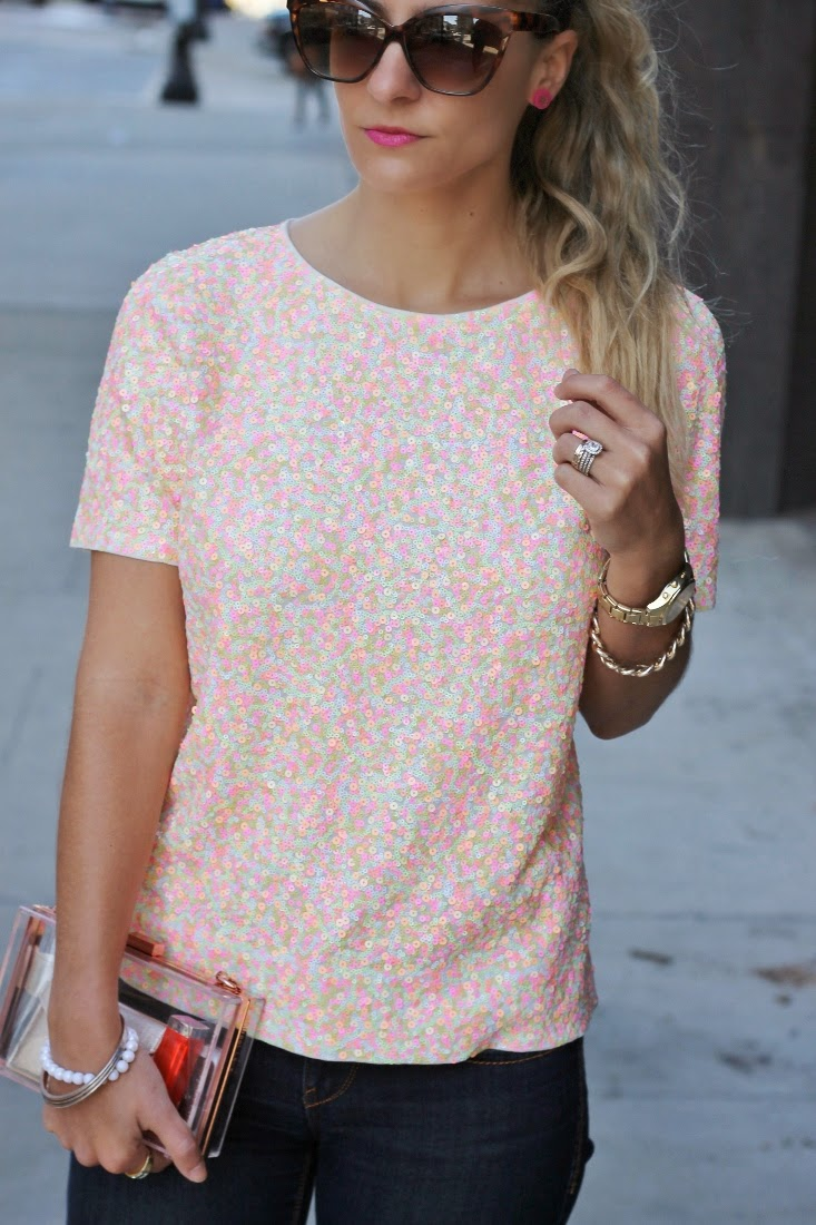 Neon Sequin Tee - Moon and Lola Eden Earrings