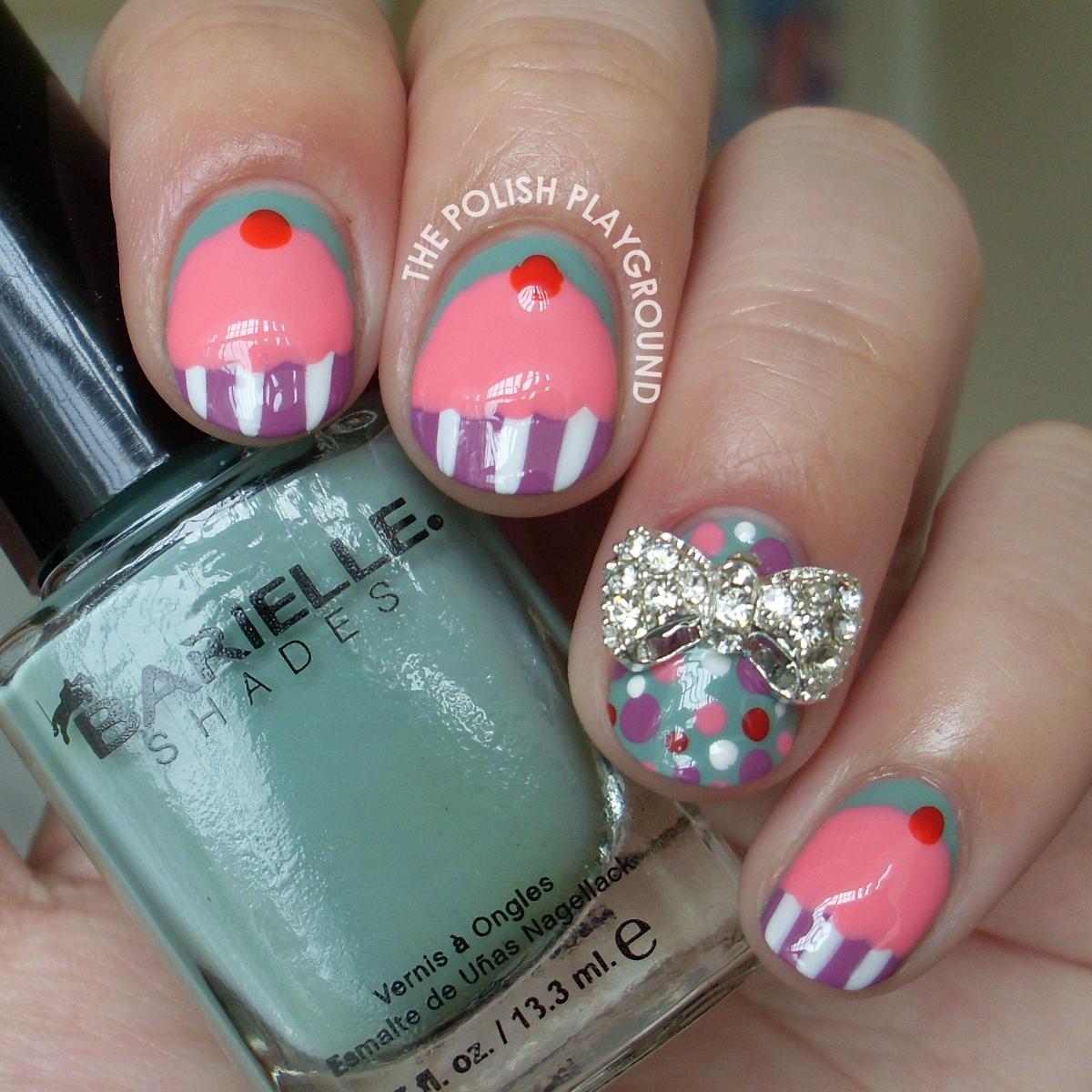 Pink Cupcake Nail Art