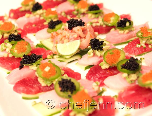 Chef Jenn: tuna and hamachi carpaccio, avocado tartare, sliced ...
