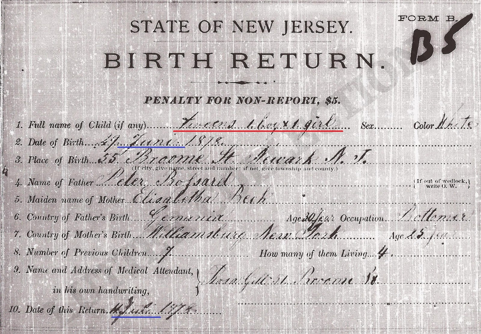 Family history research by jody birth certificate of twins new jersey birth certificate for bossard twins born 29 june 1878 volume 1 place 36 newark essex county note that the months are in german xflitez Choice Image