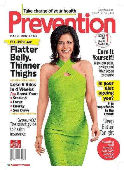 Mandira Bedi Prevention cover in Green Lemon Dress - Mandira Bedi on Cover of Prevention India (March 2012)