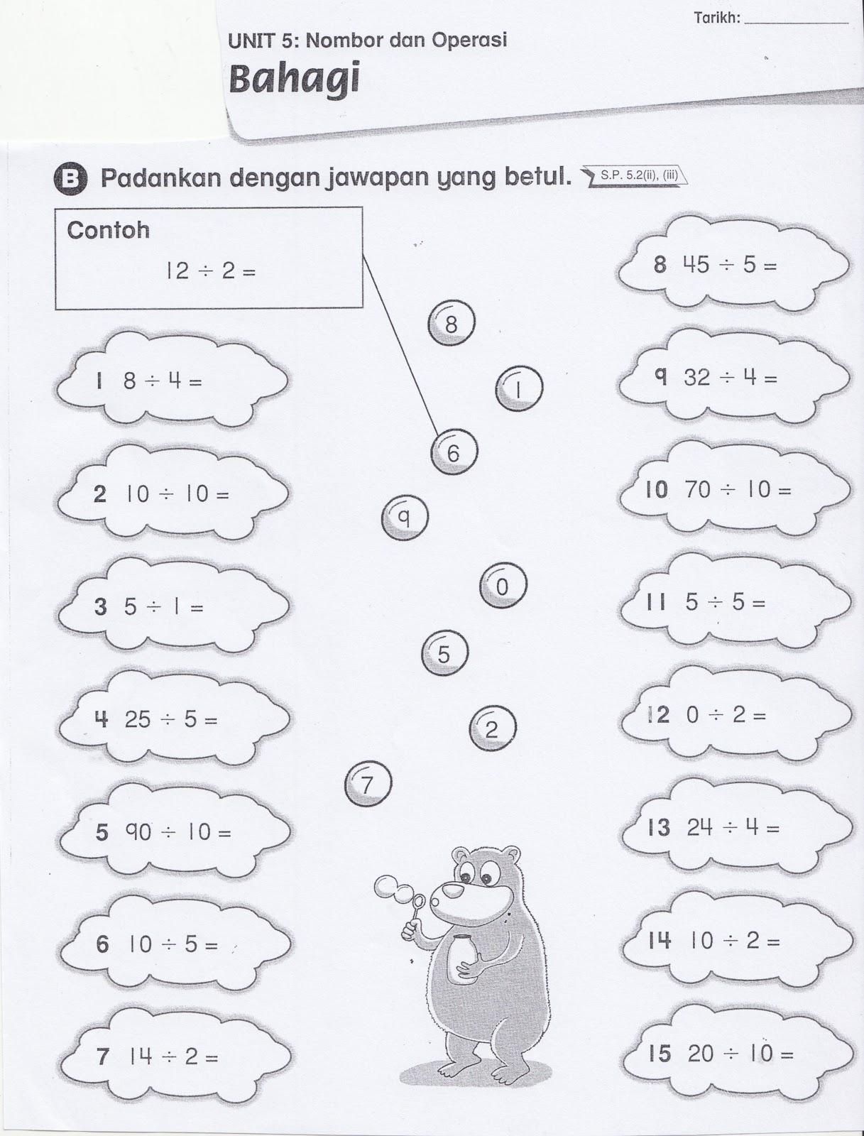 Sudut Matematik Lembaran Kerja 6 Operasi Bahagi