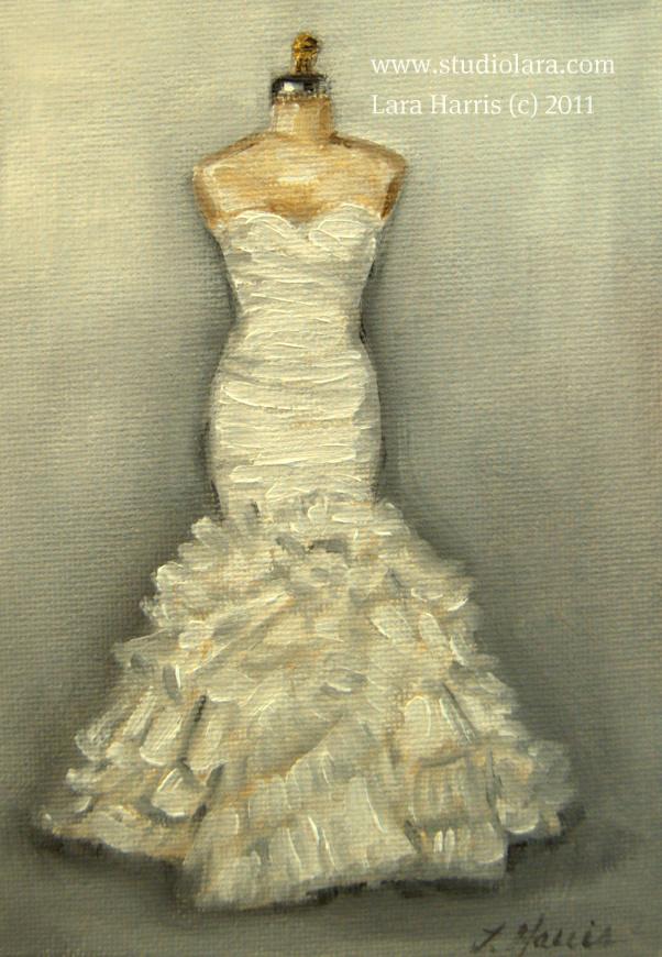 Vintage touch custom wedding dress paintings in oil by lara harris