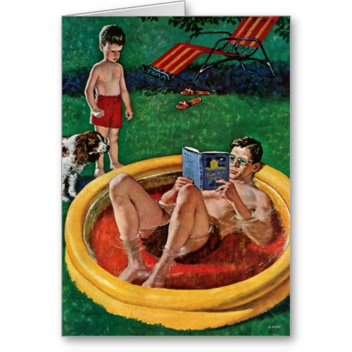 Dad Relaxing in Wading Pool | Funny Caricature Card