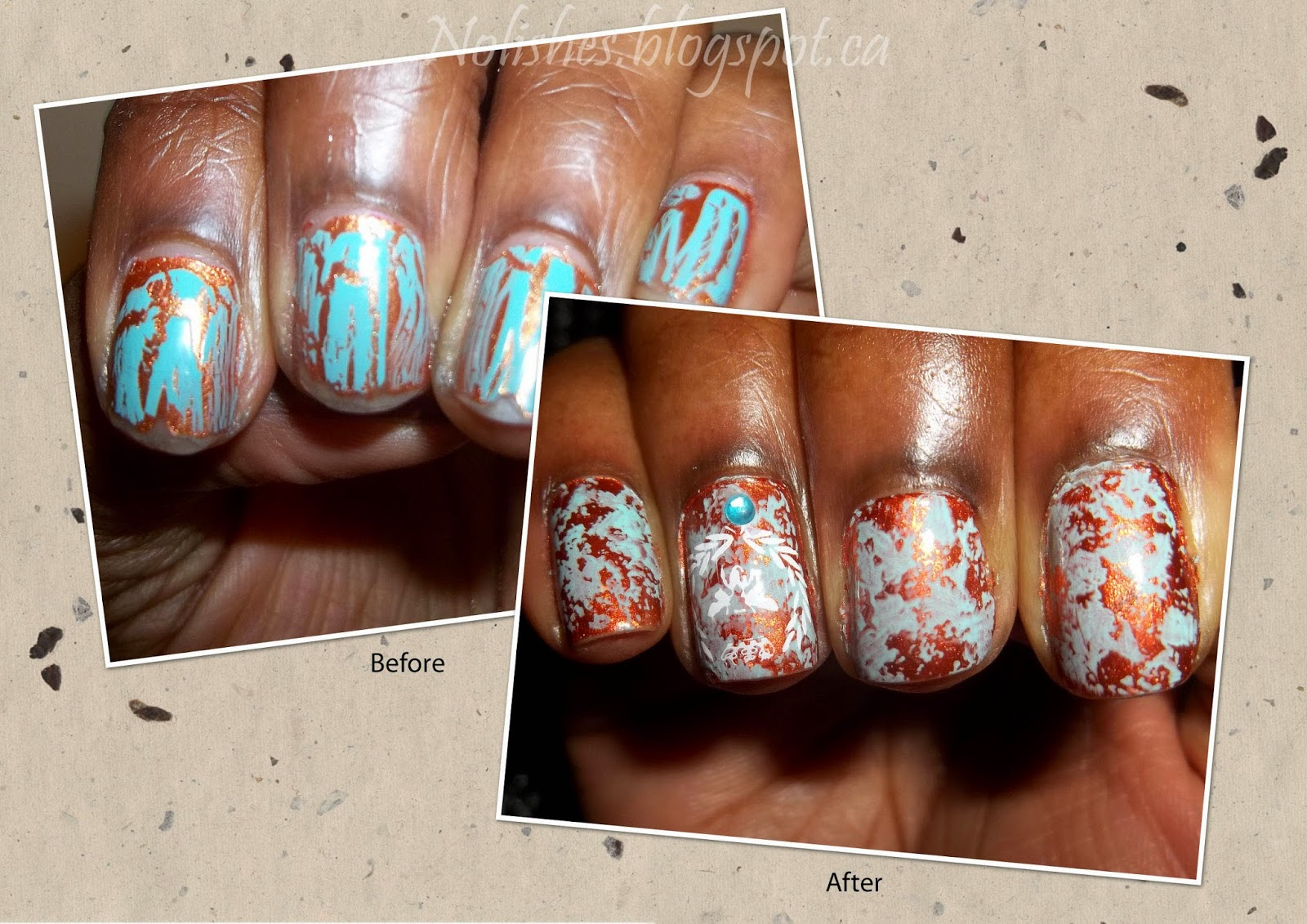 Side by Side Comparison of the Original Verdigris Manicure using China Glaze Crackle Glaze Nail Polish in 'Crushed Candy' (c. 2011), and the newer nail stamping version using Revlon 'Captivate' and Color Club 'Blue Ming' stamped with Bunny Nails Plate HD-C, and Messy Mansion Plate MM18