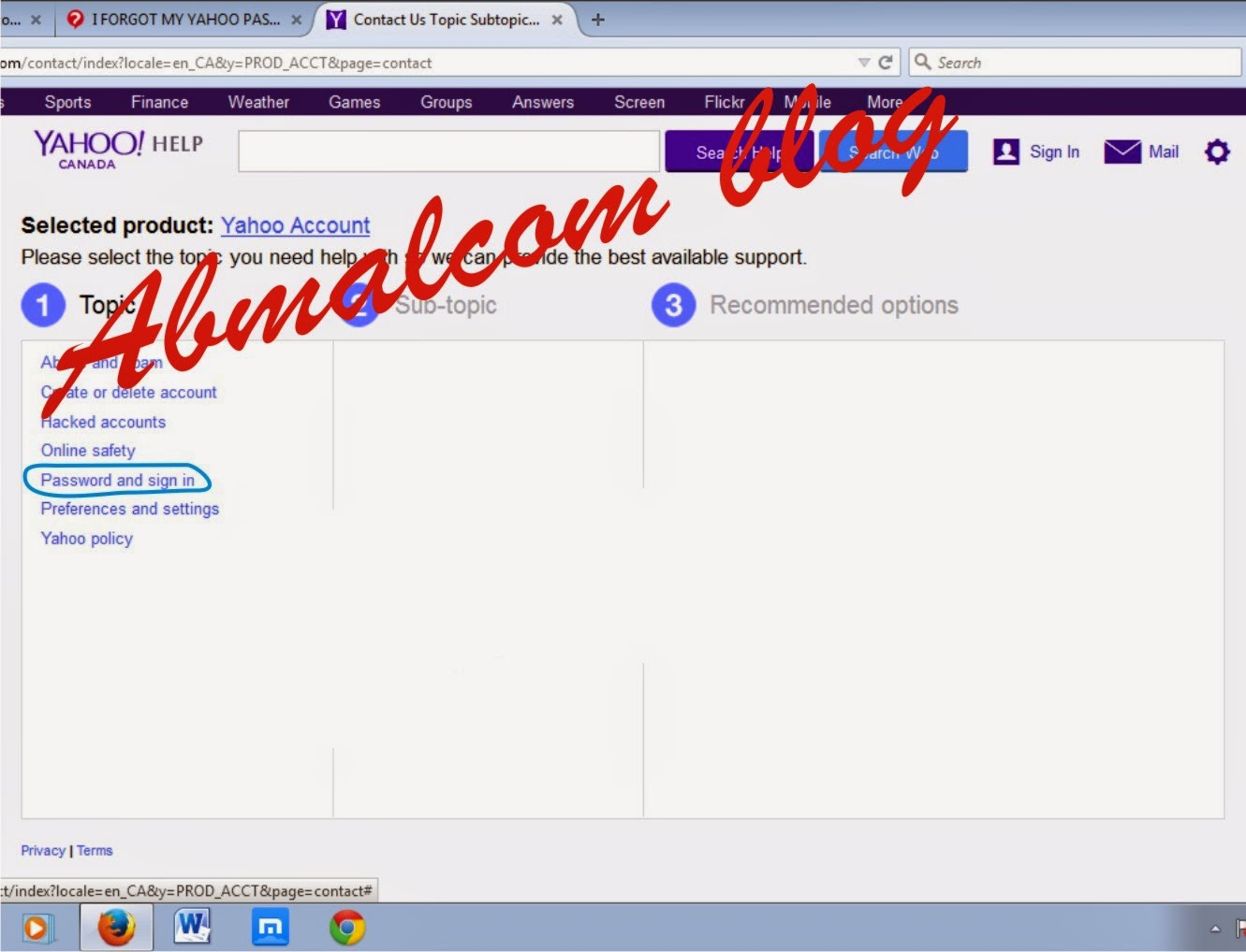 what to do if i forgot my yahoo password and security question