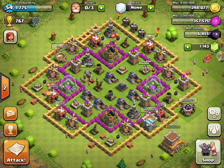 FreeAppsKing - Clash Of Clans Village - Level 54 - Clash Of Clans Guide - FreeApps.ws