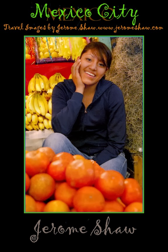 Portrait of a young woman - San Angel Market, Mexico City copyright Jerome Shaw 2007 / www.JeromeShaw.com