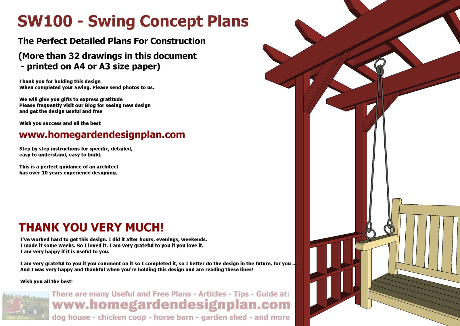 Arbor Swing Plans - Swing Woodworking Plans - Outdoor Furniture Plans