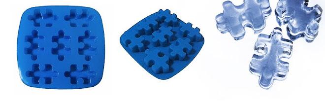 Forma de gelo puzzle em silicone - R$23,90 cada